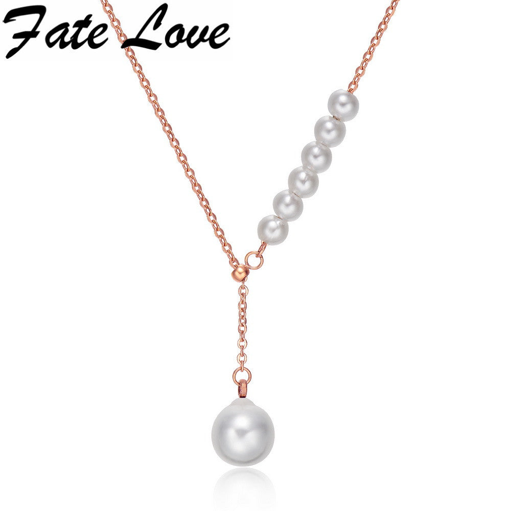 Fate Love Romantic Women Shell Pearl Rose Gold Plated Stainless Steel Pendant Necklace Women Fashion Wedding Jewelry FL1121