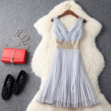 Sexy Party Mini Dress Female Spring Summer 2017 Sleeveless Tank High End Lace Patchwork Beading Fashion Sweet Pleated Dress