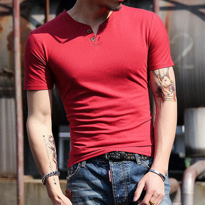 Men T Shirt New Design Simple Solid Men's Casual T-Shirt Two Button Collar Classic Cotton T Shirts Men Under Shirt Camiseta