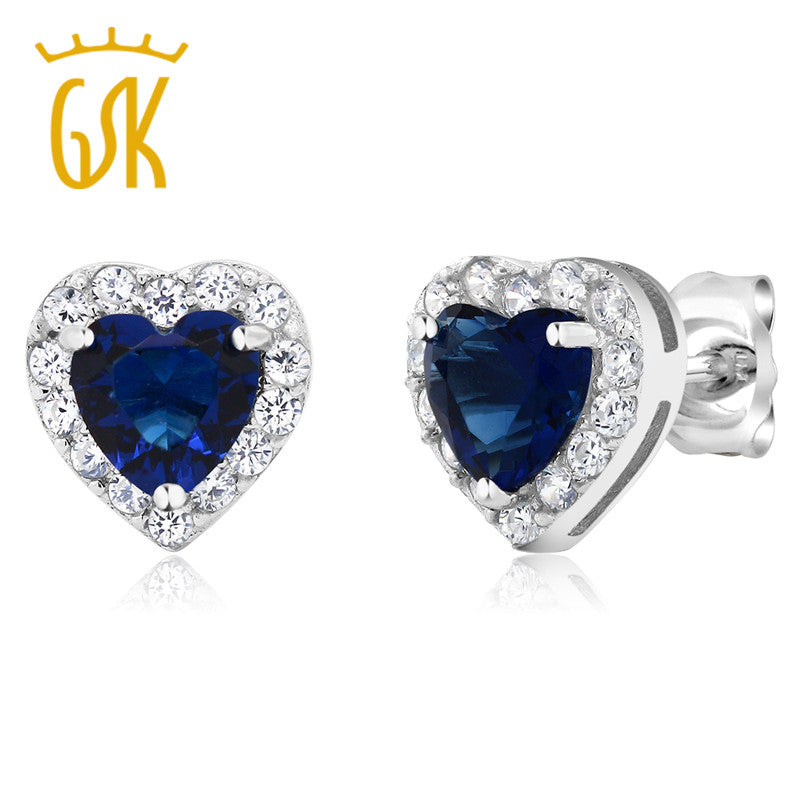 GemStoneKing 2.32 Ct Heart Shape Blue Zirconia Earrings Solid 925 Sterling Silver Women's Vintage Stud Earrings