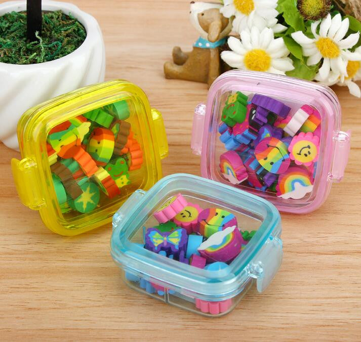 20Pcs/set Kawaii Cute Rubber Eraser Kid Gift School Supplies Stationery borracha material escolar utiles escolares papelaria