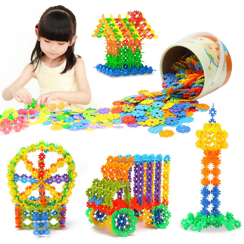 Brand New High Quality 100 PCS Plastic Snowflake Building Blocks Puzzle Educational Intelligence Toy