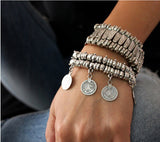 new Party Hippy Boho Pop Dangle Antique Silver Plated Coin Chunky Bohemia Carved Coin Bracelets Bangle