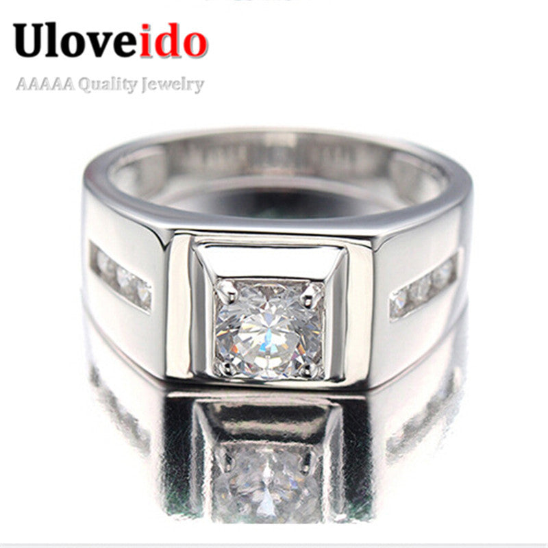 925 Sterling Silver Ring for Men 2016 Fashion Jewelry Cubic Zirconia Men's Engagement Wedding CZ Diamond Rings Uloveido J473