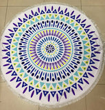 Fashion Sunbathe Round Beach Towel Large Microfiber Printed Yoga Towel  With Tassel Serviette De Plage Toalla Circle Playa shawl