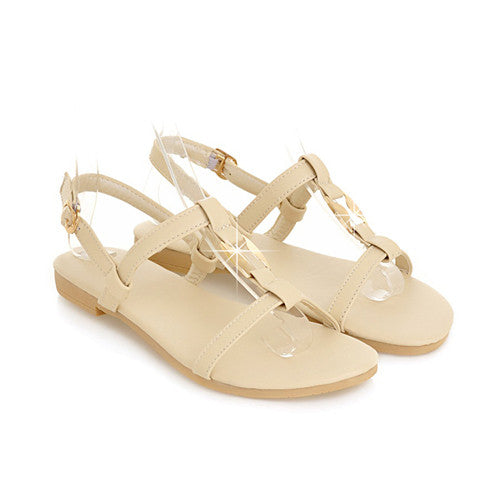 Meotina Shoes Women Sandals Summer Ankle Strap Beach Flats Ladies Sequined Yellow Green Beige Yellow Flat Shoes Small Size 34-39