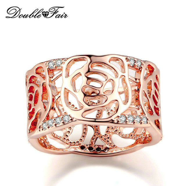 Double Fair Hollow Design Flower Cubic Zirconia Ring Rose Gold Plated Vintage Fashion Party Jewelry For Women Wholesale DFR677