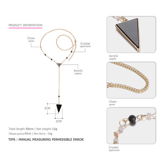 eManco Chic Charming Popular Long Chain Necklace & Triangle Pendants for Women Crystal Gold Plated Fashion Jewelry