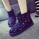 Super Warm Women Snow Boots Autumn Winter Ankle Boots Printed Stars Flat Short Boots Woman Ladies Warm Shoes Soft Plush Zapatos