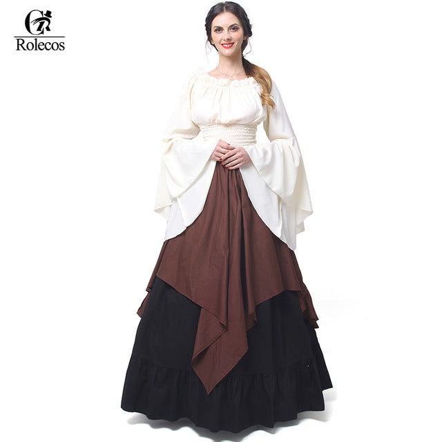 Girls Gothic Lolita Dress Women  Medieval Renaissance Victorian Costumes Women High Waist Ruffle Skirts Halloween Party Costumes