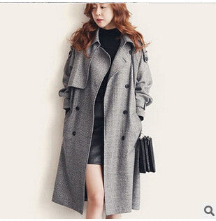 Autumn high-end British outfit plus size women's clothing leisure double-breasted  fashion long coat loose female trench