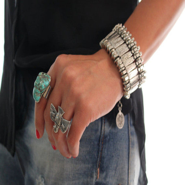 2015 New Vintage fashion charm bohemia bracelet women jewelry silver statement bracelets wholesale