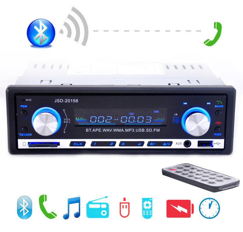 2015 New 12V Car Stereo FM Radio MP3 Audio Player Support Bluetooth Phone with USB/SD MMC Port Car Electronics In-Dash 1 DIN
