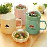 Creative 1Pcs Micro Landscape Ceramic Cup Lovely Big Belly Mug Student Gift Cup High Temperature Resistance for Home Office