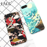 LACK Lovely Cherry Blossom Moon Case For iphone 7 Case Fashion Hard Phone Cases Cartoon Crane Back Cover For iphone7 6 6S PLus