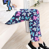 Newest 2016 Autumn Girl Fashion Flower Navy Pink Blue Yellow Color Leggings Children Skinny Pants  Baby Girl Clothes