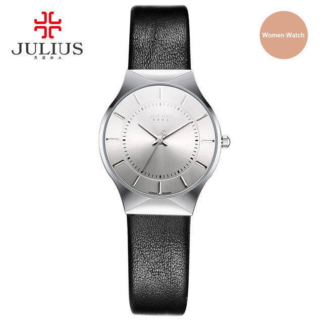 JULIUS JA-577 Women's Utra thin Silver Black Men Mesh Stainless Steel Quartz Analog Fashion Casual Watch Female Wristwatch Clock