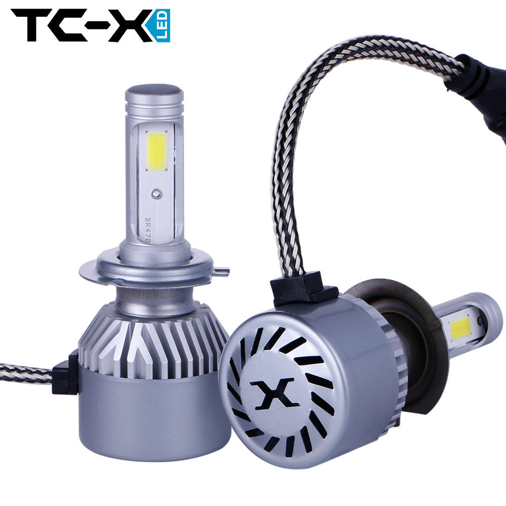 TC-X Stable 2.5A/12V Output COB H7 LED Headlight Kit Adjustable 360 Angle for Dipped Beam Main Beam Replacement 6000k Cool White