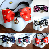 New Lovely Adjustable 6 Colors Plaid Leopard Print Bowknot Bell Cat Dog Necklace Puppy Pet Collar Pet Supplies #03