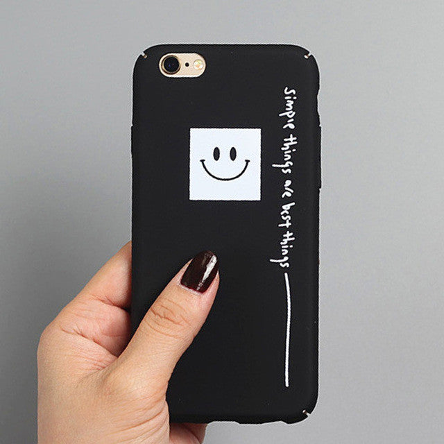 LACK Fashion Ultra thin Letter Cover For iphone 7 Case Cute Smile Classic Black White Couples Phone Cases For iphone7 6 6S Plus