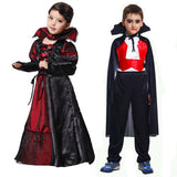 Girls Boys Costumes Vampire Queen Children's Day Halloween Kids Black Lace Party Dress Necklace Set Boy Couple Clothing