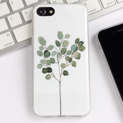 LACK Phone Case For iphone 7 Case Cute Cartoon Plants Leaves Peony Flower Cover Fashion Soft IMD Capa For iphone7 6 6S Plus 5 5S