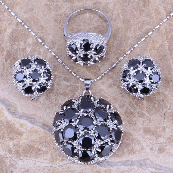 Gracious Black Sapphire 925 Sterling Silver Overlay Jewelry Sets Earrings Pendant Ring Size 6 / 7 / 8 / 9 / 10 / 11 / 12 S0025