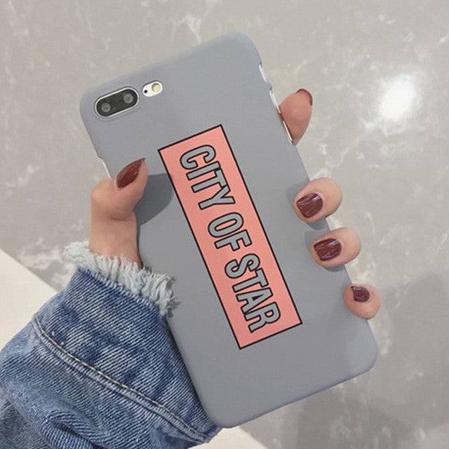 LACK Phone Case For iphone 7 Case Fashion Letter CITY OF STAR Cover Funny Cartoon Hard PC Capa Cases For iphone7 6 6S Plus 5 5S