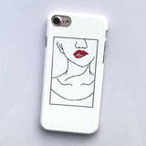 LACK Phone Cases For iphone 6 Case Sexy Red Lips Cover Fashion Cartoon Girl Lines Coque Hard Capa For iphone 6S 7 7 Plus 5 5S