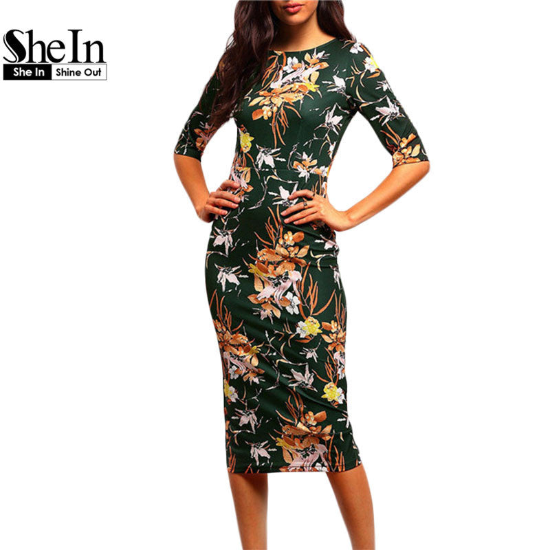 SheIn Womens Brand Bodycon Dresses New Vintage 2016 Spring Summer Office Green Mock Neck Floral Pencil Midi Dress