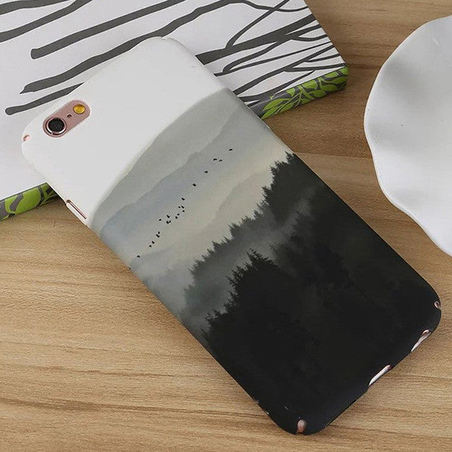 LACK Phone Case For iphone 7 Case Art Ink And Wash Forest Back Cover Fashion Hard PC Full Protective Cases For iphone7 6 6S Plus