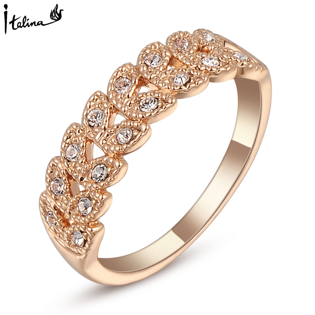 Rose Gold Plated Austrian Engagement Ring
