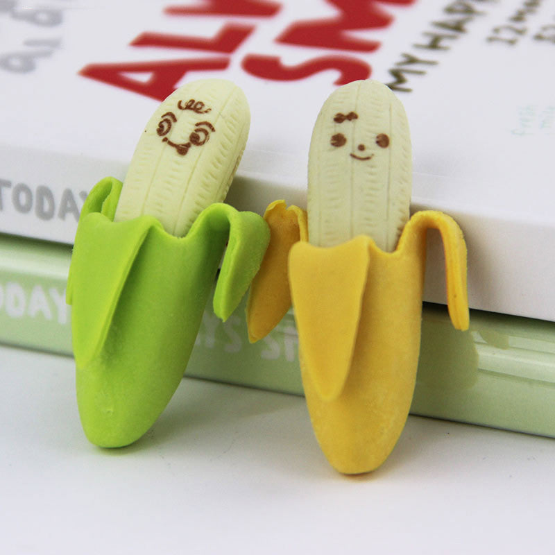 4 PCS Creative Cute Banana Fruit Pencil Eraser Rubber Novelty Kids Student Learning Office Stationery
