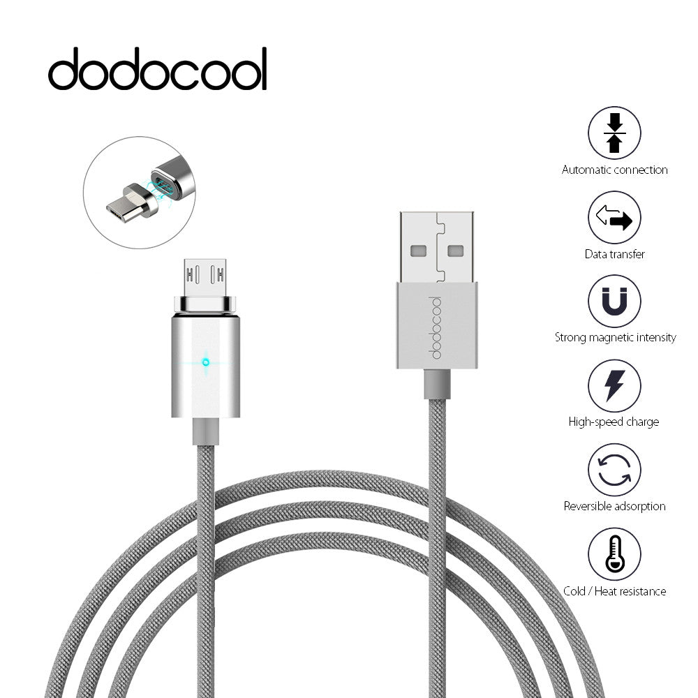 dodocool 3.9ft /1.2m Detachable Magnetic Micro USB Charge & Sync Cable with LED Indicator Silver quick charger for Huawei Nokia