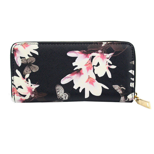 2017 New Fashion Envelope Women Wallets PU Leather Flowers Printing Wallet Long Clutch Lady Coin Card Holder Purse 4 Colors