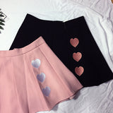 2017 New Women Summer Skirts Lovely Heart Embroidered Pleated Skirt High Waist Pink/Black Cute Sweet Skirts SK802