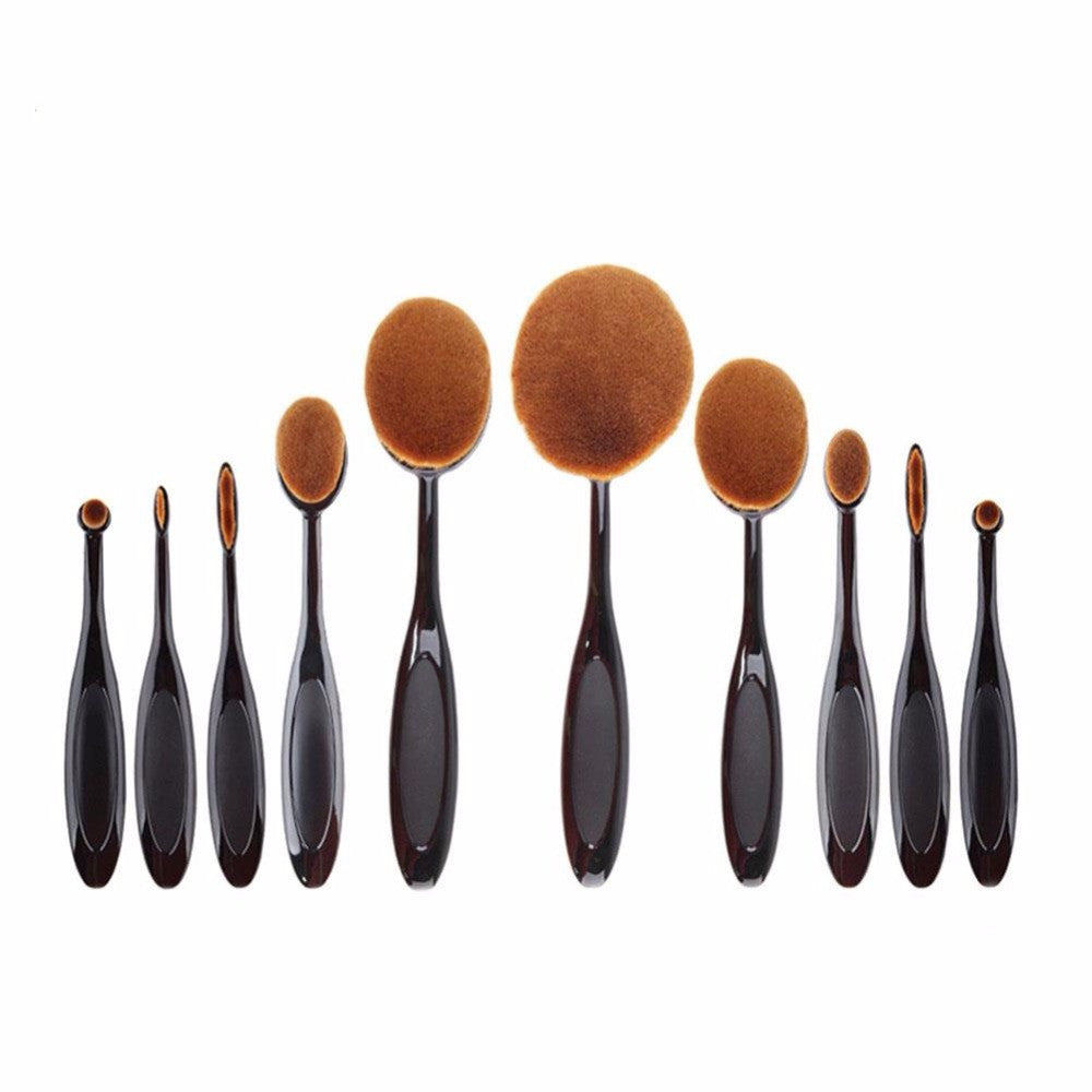 10Pcs/lot Make Up Oval Brushes Set Pro Beauty Toothbrush Shaped Foundation Power Eyebrow Eyeliner Lip Facial Makeup Brushes Tool