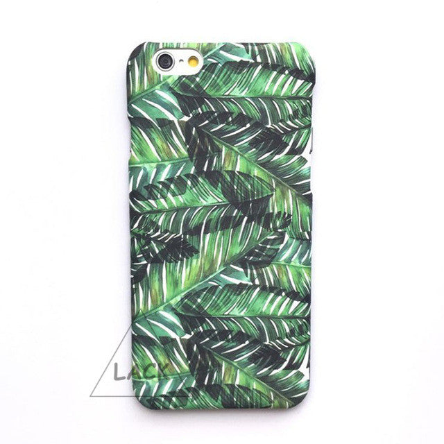 LACK Phone Case For iphone 7 6 6S PLus Plants Banana Leaves Back Cover Summer Cool Cartoon Leaves Cases Fashion Hard Slim Capa