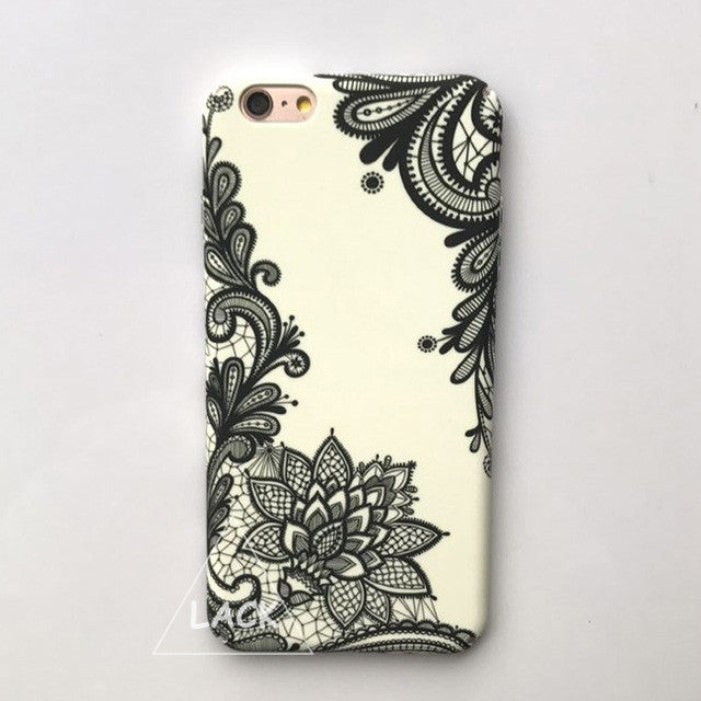 LACK Phone Case For iphone 6 6S 7 Plus Cover Retro Sexy Lace Flower Cases Fashion Hard PC Coque Cute Cartoon Mandala Floral Capa
