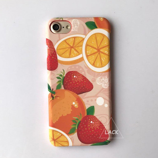 LACK Phone Case For iphone 6 6S 7 Plus Capa Lovely Cartoon Fruit Pattern Cover Luxury Colorful Orange Strawberry Hard PC Cases