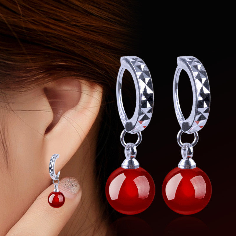 Fashion 925 Sterling Silver Earrings For Women Natural Black And Red Agate Earrings Ear Jewelry Korean Style Party Accessories