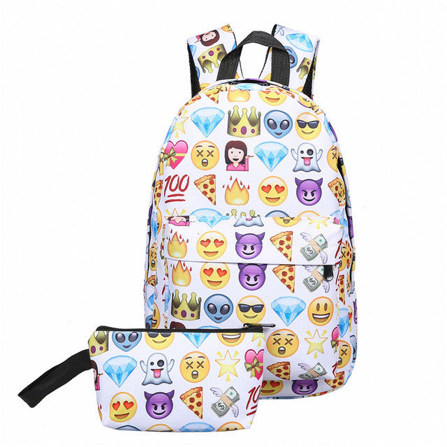 0f981162e AEQUEEN 2PCS Canvas Backpack Women 3D Smile Face Printing Backpacks For Teenage  Girls School Bags Travel