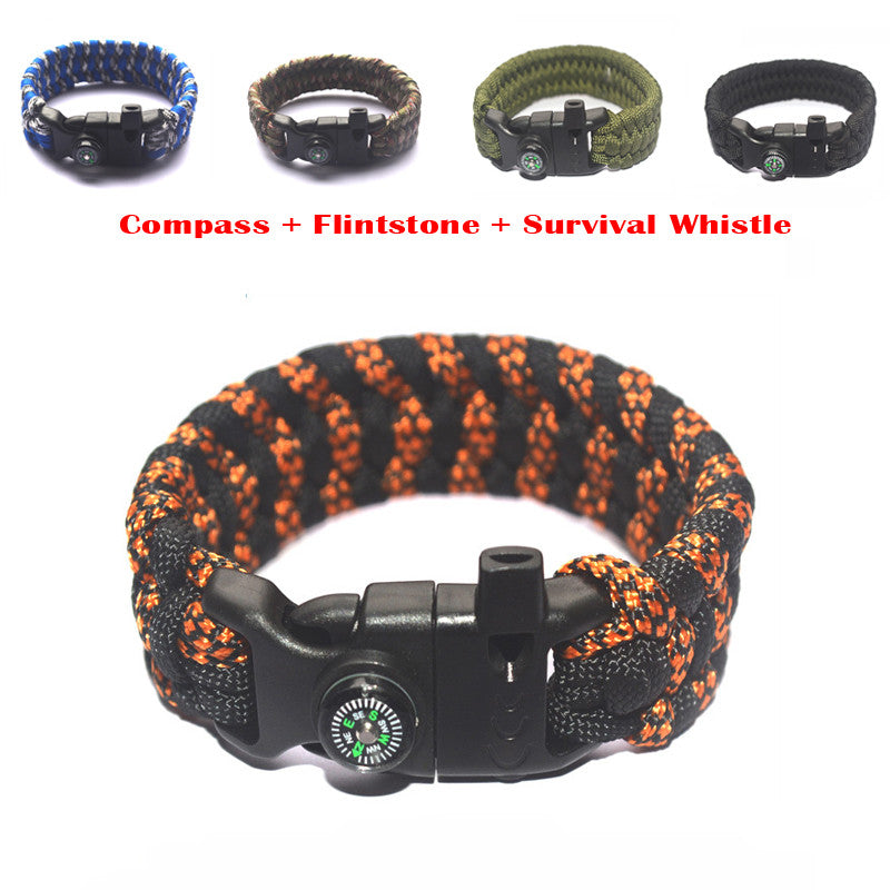 HOT EDC Outdoor Paracord Parachute Survival Bracelet Rope With Whistle + Compass + Flintstone Useful Gadgets Multi-Color