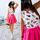 Womens Summer Dresses 2017 Summer New Fashion Sexy Women Print Mini Party Dresses Casual Cute Beach Two Piece Dress