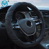 "TOP QUALITY Dermay Sheepskin Leather CAR STEERING WHEEL COVER Black Color Soft Non-Slip 38CM For Steering Wheel 14-15"" 95% Cars"