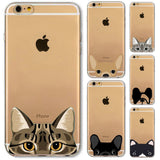 "Cute Cartoon Animal Cat Dog BULLDOG Phone Case For iPhone 6 6s Plus 4.7"" 5.5"" Crystal Clear Soft TPU Gel Flexible Skin Cover"