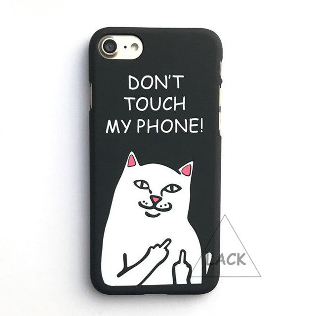 LACK Phone Case For iphone 6 6S 7 Plus 5 5S Funny Grumpy Cat Middle Finger Back Cover Lovely Catoon Animal Cases Hard PC Fundas