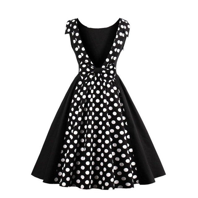 S-4XL Women Robe Pin Up Backless Dress Retro 2017 Vintage 50s 60s Rockabilly Dot Swing Summer Dresses Elegant Tunic Vestidos