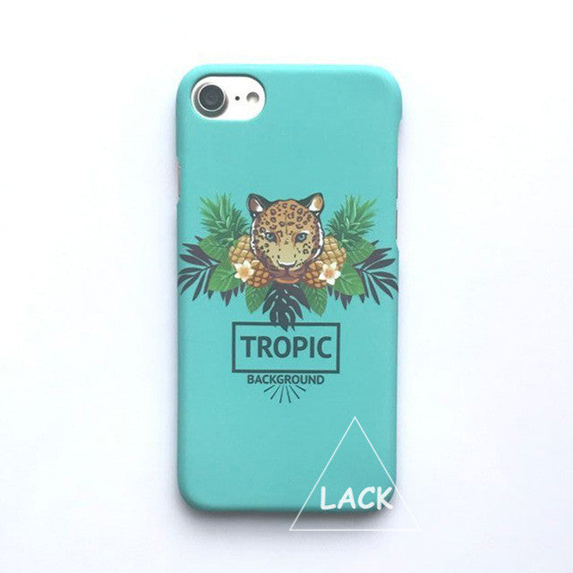LACK Phone Case For iphone 6 6S 7 Plus Tropical Fruit Pineapple Back Cover Lovely Cartoon Animal Leopard Cases Fashion Hard Capa