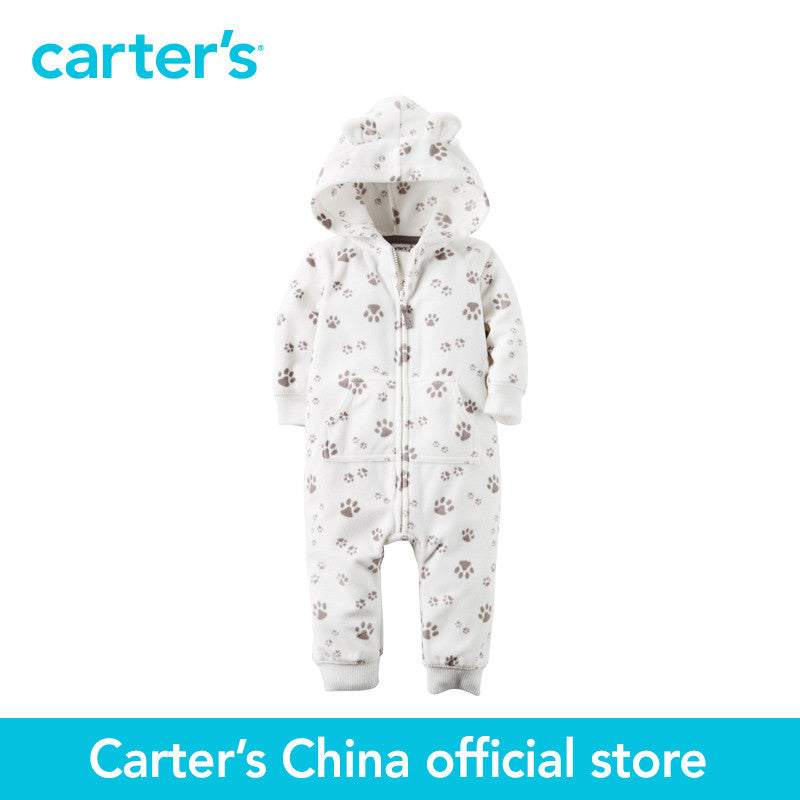 Carter's 1 pcs  baby children kids Fleece Hooded Paw Print Jumpsuit 118G657, sold by Carter's China official store